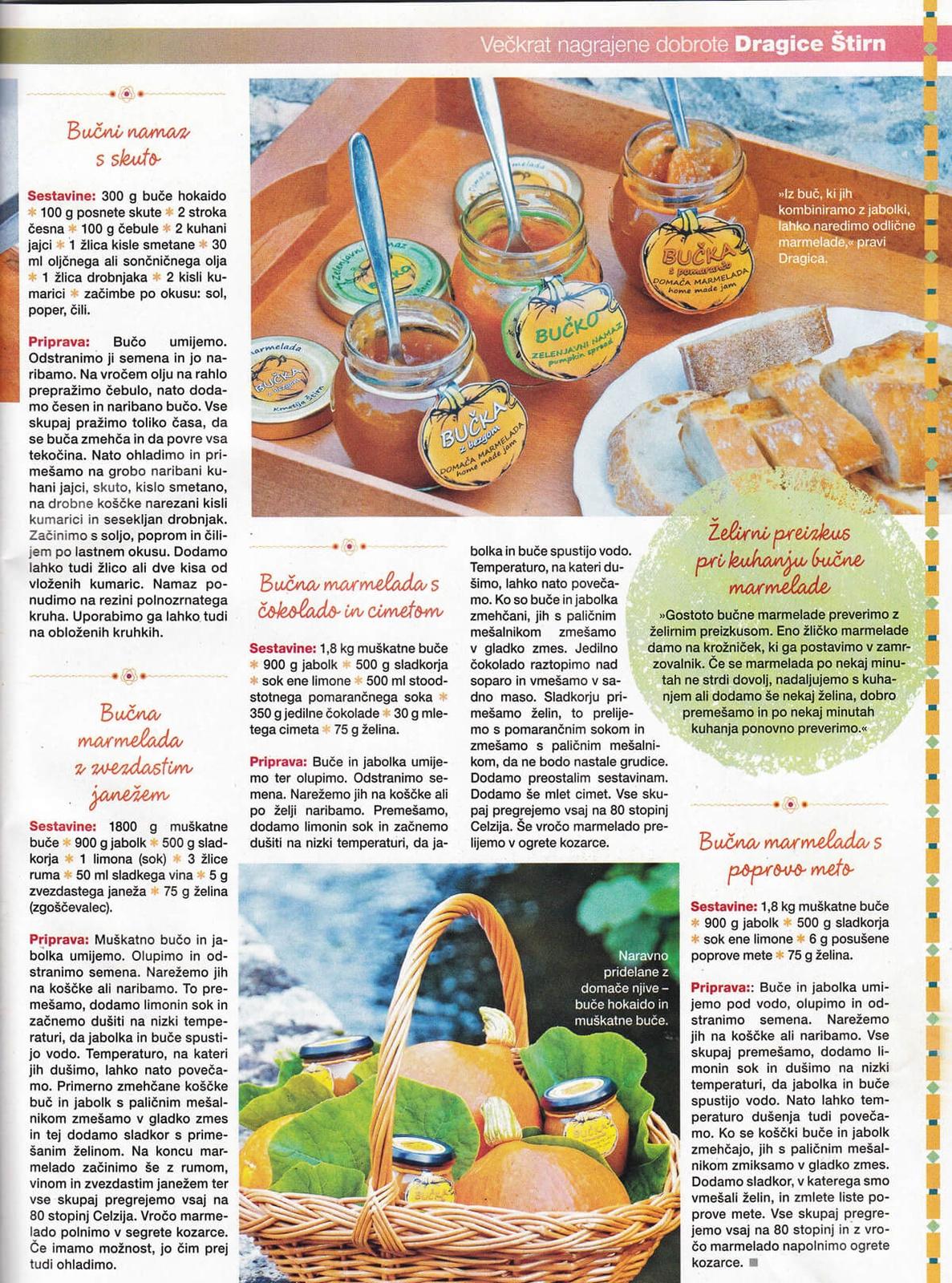 Slastni recepti za bučno juho, zavitke in bučno marmelado